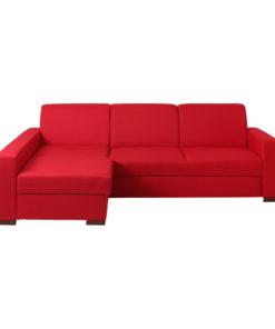 Canapea Lozier rosie extensibila stanga cu sezlong si spatiu depozitare