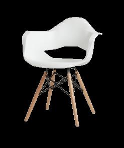 Scaun Match Arms lemn alb
