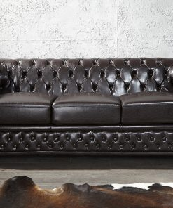 Canapea Chesterfield 3 locuri neagra_1