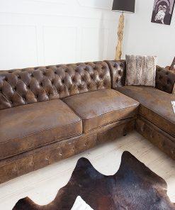 Canapea Chesterfield cu sezlong dreapta maro_1