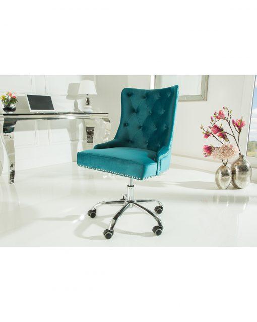 Scaun birou Victorian turquoise