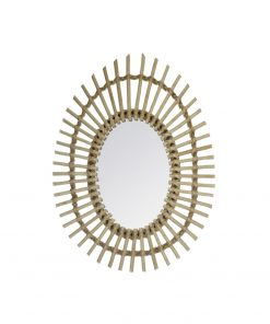 Decoratiune de perete cu oglinda JJA Rattan gold
