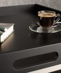 Set 2 masute cafea Invicta Tablett negru
