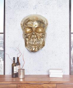 Decoratiune perete Skull gold